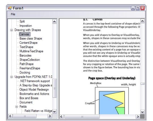 Screenshot of BookMarksViewer sample
