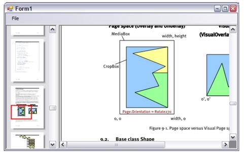 Screenshot of ThumbnailsViewer sample